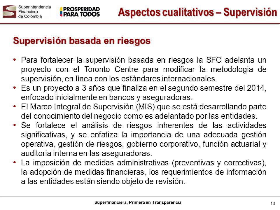 Superfinanciera, Primera en Transparencia 13 Supervisión basada en riesgos Para fortalecer la supervisión basada en riesgos la SFC adelanta un proyect