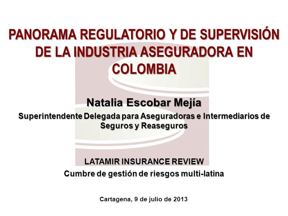 PANORAMA REGULATORIO Y DE SUPERVISIÓN DE LA INDUSTRIA ASEGURADORA EN COLOMBIA Natalia Escobar Mejía Superintendente Delegada para Aseguradoras e Inter