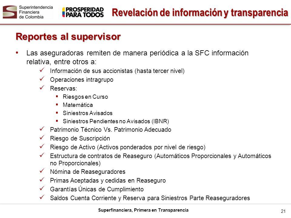 Superfinanciera, Primera en Transparencia 21 Reportes al supervisor Las aseguradoras remiten de manera periódica a la SFC información relativa, entre