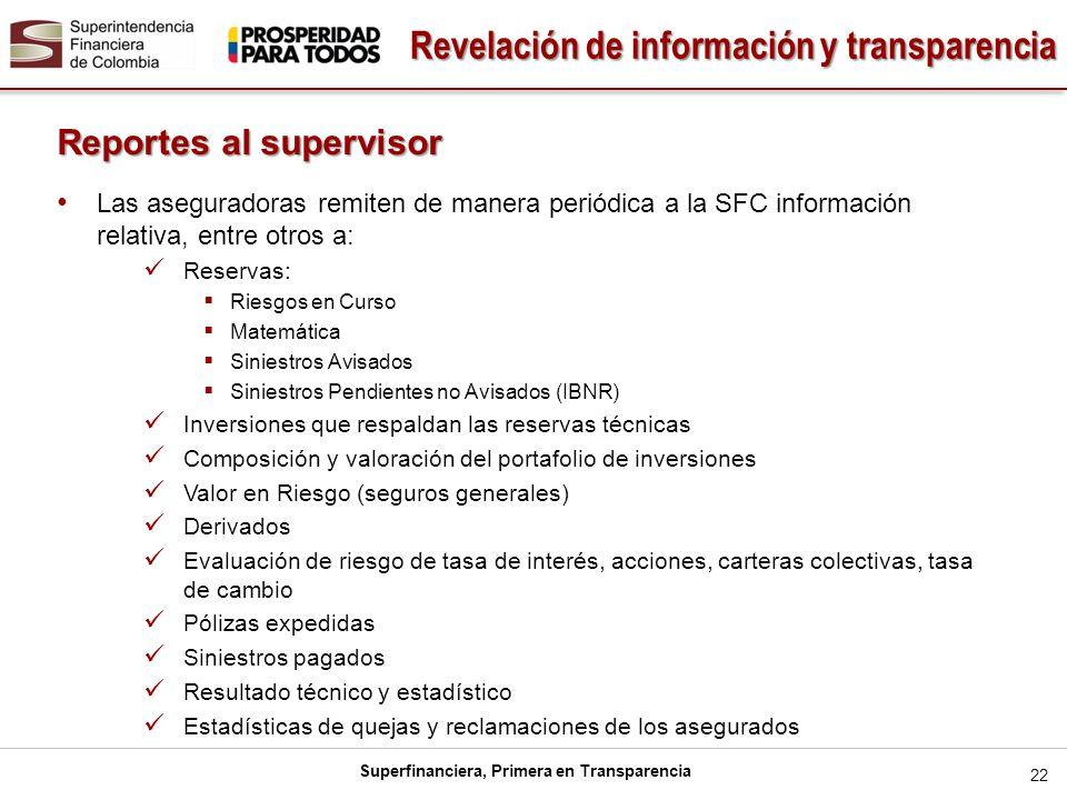 Superfinanciera, Primera en Transparencia 22 Reportes al supervisor Las aseguradoras remiten de manera periódica a la SFC información relativa, entre