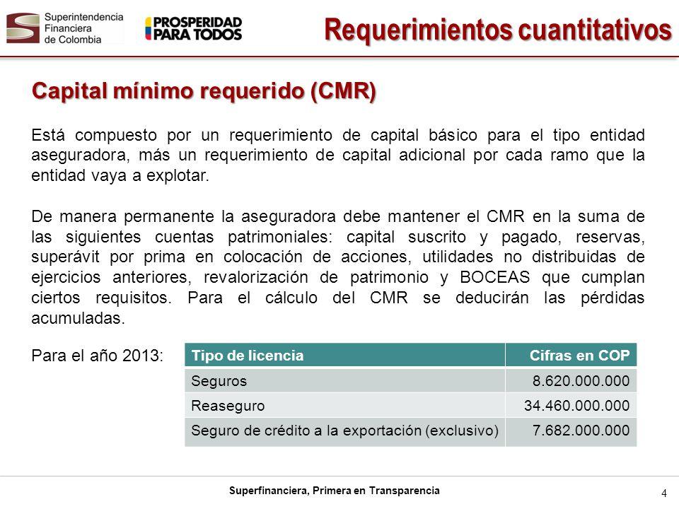 Superfinanciera, Primera en Transparencia 5 RAMO Cifras en COP AUTOMÓVILES 2,826,000,000 CRÉDITO A LA EXPORTACIÓN 2,199,000,000 SOAT 1,728,000,000 INCENDIO 1,728,000,000 TERREMOTO1,728,000,000 LUCRO CESANTE1,728,000,000 CUMPLIMIENTO 1,728,000,000 TRANSPORTE 946,000,000 VIDA INDIVIDUAL 1,572,000,000 PREVISIONALES 1,572,000,000 PENSIONES LEY 100 3,764,000,000 PENSIONES VOLUNTARIAS 2,826,000,000 PENSIONES CON CONMUTACIÓN PENSIONAL2,826,000,000 RIESGOS PROFESIONALES 2,511,000,000 ENFERMEDADES DE ALTO COSTO 1,572,000,000 VIDA GRUPO 1,572,000,000 EDUCATIVO 1,540,000,000 DEMÁS RAMOS DE SEGUROS 946,000,000 Requerimientos cuantitativos Requerimiento adicional por ramo para el año 2013