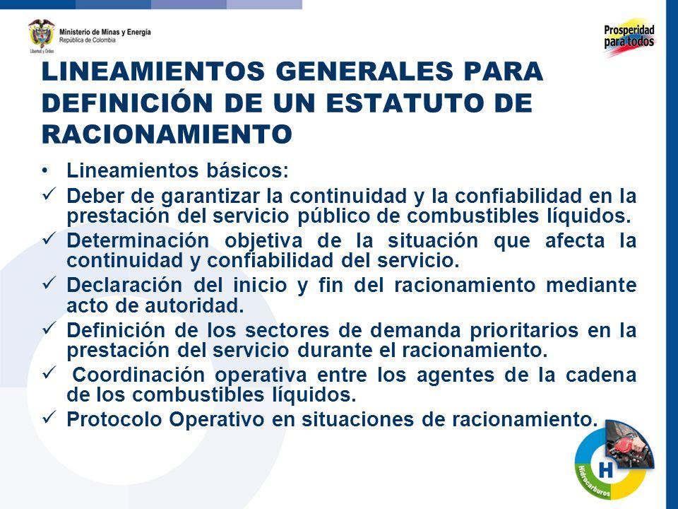 LINEAMIENTOS GENERALES PARA DEFINICIÓN DE UN ESTATUTO DE RACIONAMIENTO Lineamientos básicos: Deber de garantizar la continuidad y la confiabilidad en la prestación del servicio público de combustibles líquidos.