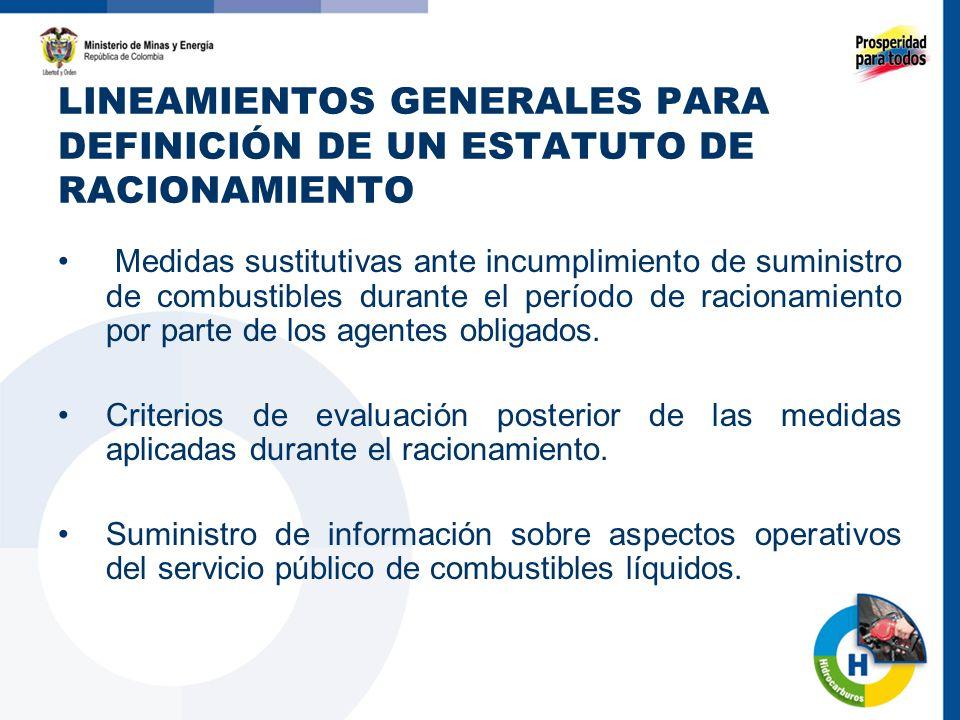 LINEAMIENTOS GENERALES PARA DEFINICIÓN DE UN ESTATUTO DE RACIONAMIENTO Medidas sustitutivas ante incumplimiento de suministro de combustibles durante el período de racionamiento por parte de los agentes obligados.