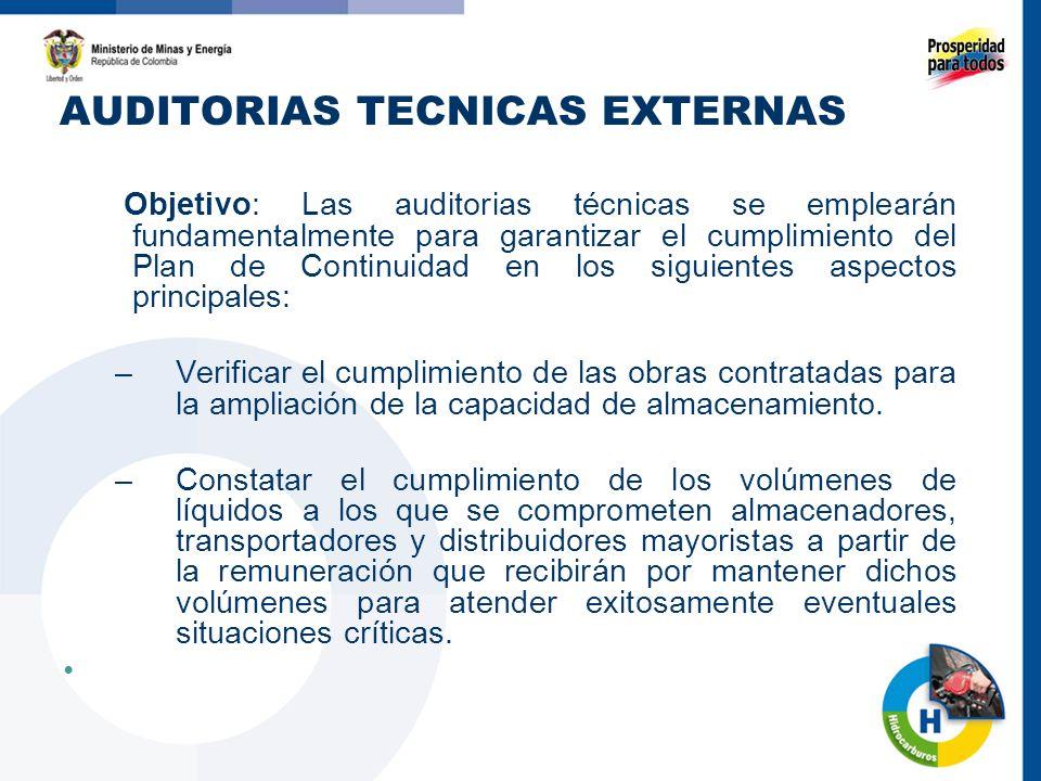 AUDITORIAS TECNICAS EXTERNAS Objetivo: Las auditorias técnicas se emplearán fundamentalmente para garantizar el cumplimiento del Plan de Continuidad en los siguientes aspectos principales: –Verificar el cumplimiento de las obras contratadas para la ampliación de la capacidad de almacenamiento.