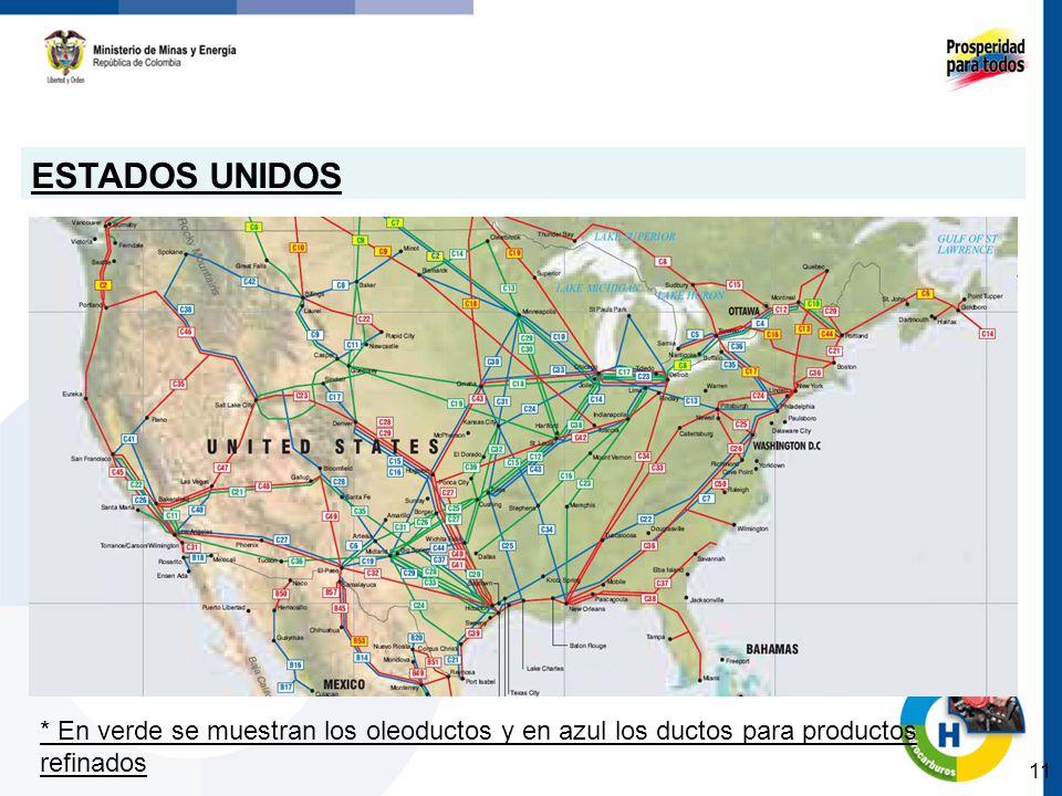 ESTADOS UNIDOS 11 * En verde se muestran los oleoductos y en azul los ductos para productos refinados