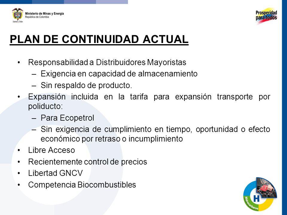 Responsabilidad a Distribuidores Mayoristas –Exigencia en capacidad de almacenamiento –Sin respaldo de producto. Expansión incluida en la tarifa para