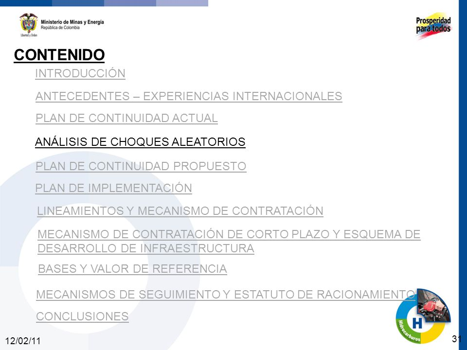 12/02/11 31 INTRODUCCIÓN ANTECEDENTES – EXPERIENCIAS INTERNACIONALES PLAN DE CONTINUIDAD ACTUAL ANÁLISIS DE CHOQUES ALEATORIOS PLAN DE CONTINUIDAD PROPUESTO CONTENIDO PLAN DE IMPLEMENTACIÓN LINEAMIENTOS Y MECANISMO DE CONTRATACIÓN MECANISMO DE CONTRATACIÓN DE CORTO PLAZO Y ESQUEMA DE DESARROLLO DE INFRAESTRUCTURA BASES Y VALOR DE REFERENCIA CONCLUSIONES MECANISMOS DE SEGUIMIENTO Y ESTATUTO DE RACIONAMIENTO