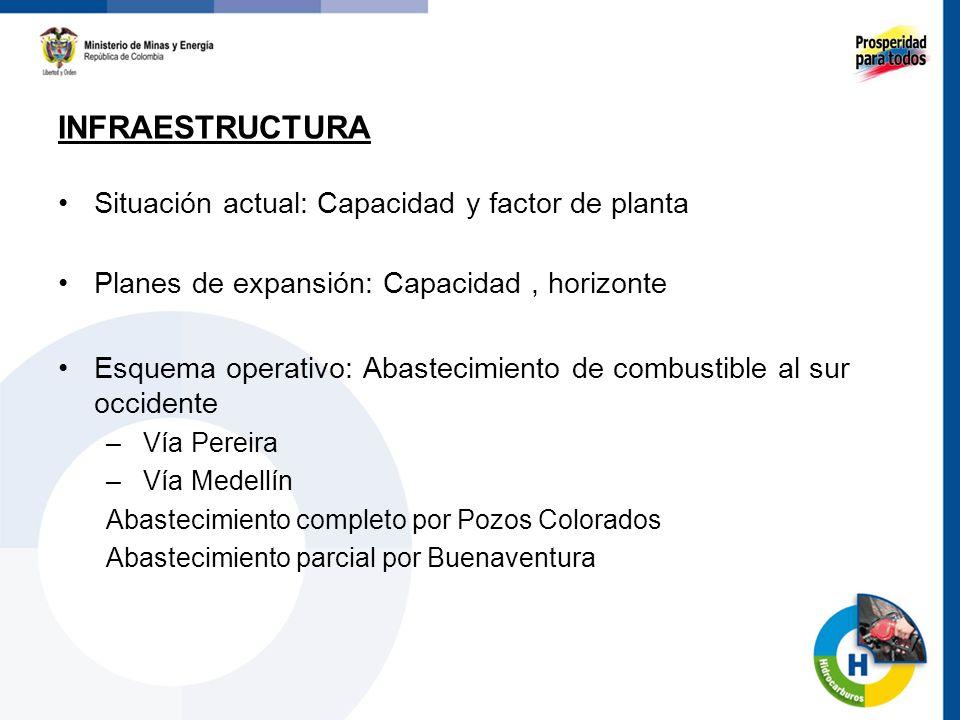 Situación actual: Capacidad y factor de planta Planes de expansión: Capacidad, horizonte Esquema operativo: Abastecimiento de combustible al sur occid