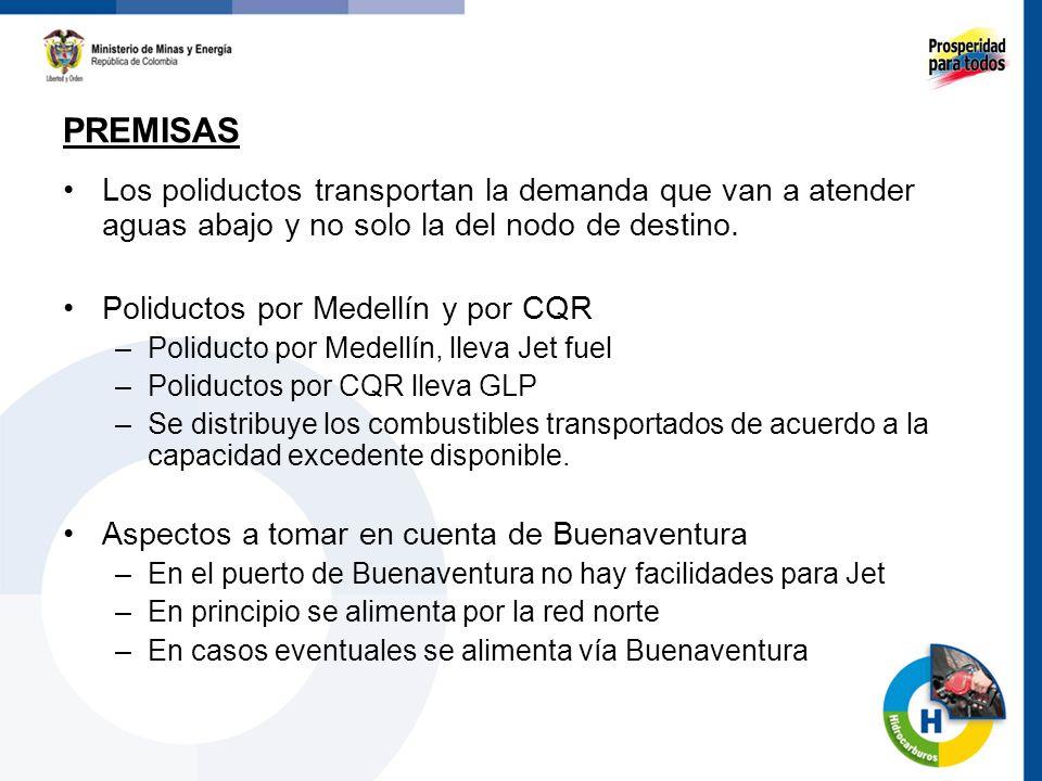 Los poliductos transportan la demanda que van a atender aguas abajo y no solo la del nodo de destino. Poliductos por Medellín y por CQR –Poliducto por