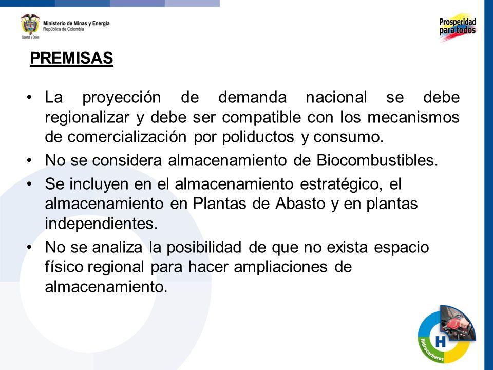 La proyección de demanda nacional se debe regionalizar y debe ser compatible con los mecanismos de comercialización por poliductos y consumo. No se co