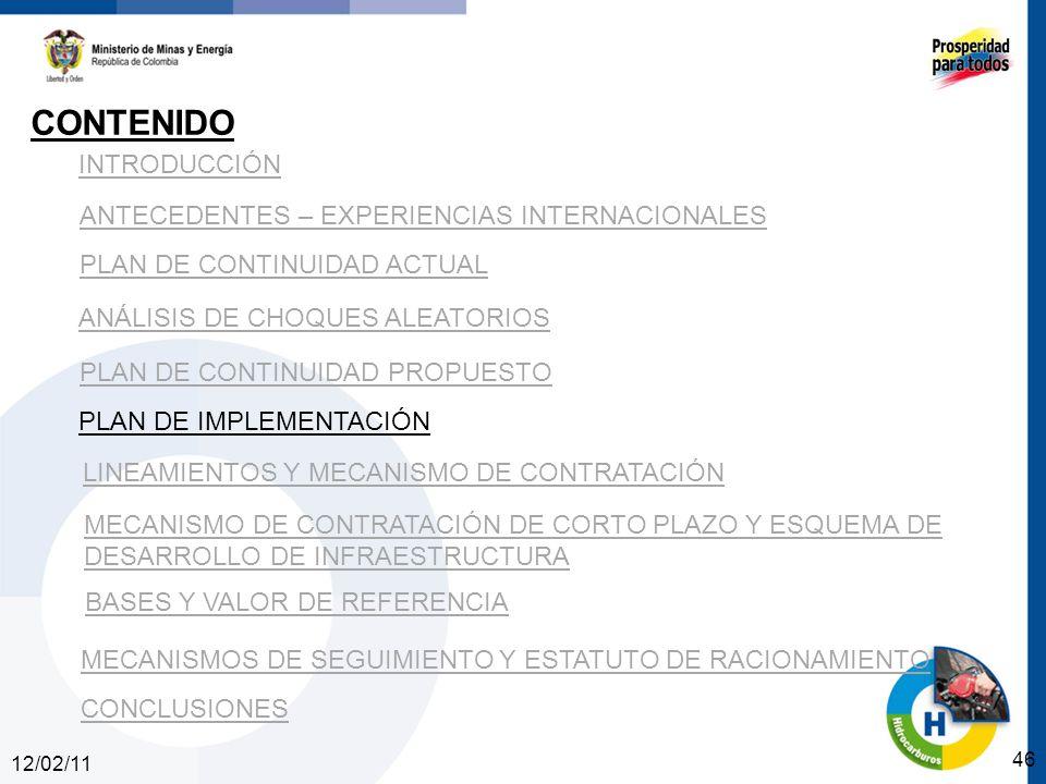12/02/11 46 INTRODUCCIÓN ANTECEDENTES – EXPERIENCIAS INTERNACIONALES PLAN DE CONTINUIDAD ACTUAL ANÁLISIS DE CHOQUES ALEATORIOS PLAN DE CONTINUIDAD PROPUESTO CONTENIDO PLAN DE IMPLEMENTACIÓN LINEAMIENTOS Y MECANISMO DE CONTRATACIÓN MECANISMO DE CONTRATACIÓN DE CORTO PLAZO Y ESQUEMA DE DESARROLLO DE INFRAESTRUCTURA BASES Y VALOR DE REFERENCIA CONCLUSIONES MECANISMOS DE SEGUIMIENTO Y ESTATUTO DE RACIONAMIENTO