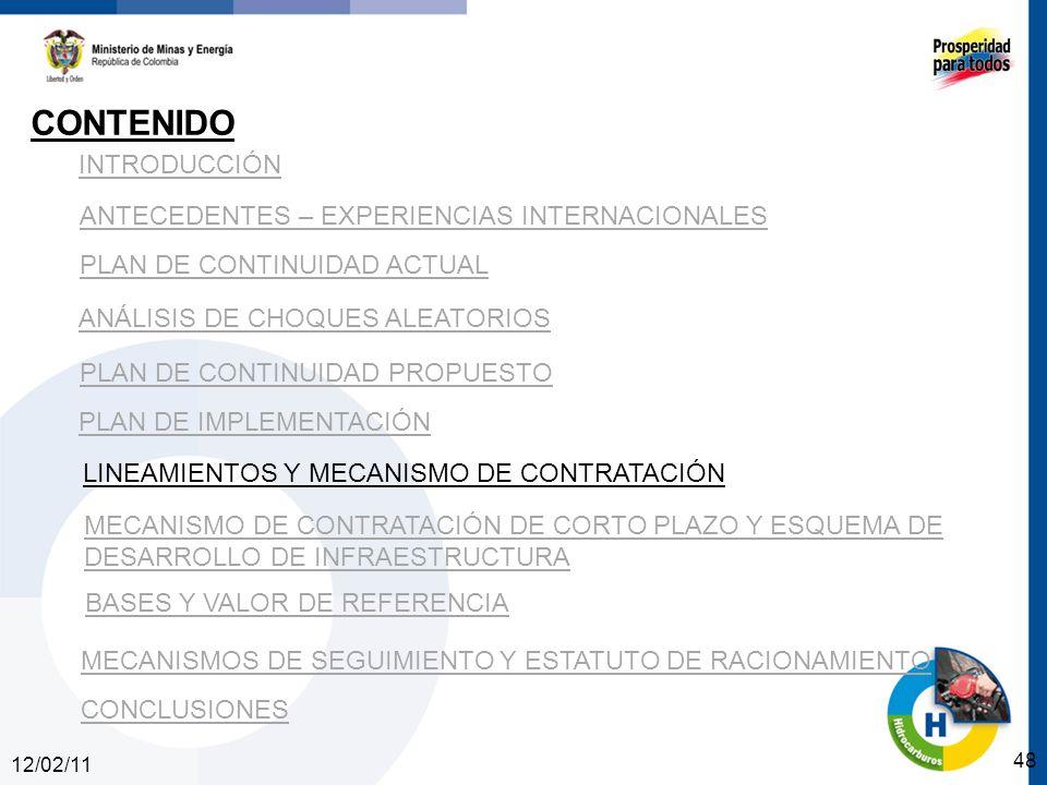 12/02/11 48 INTRODUCCIÓN ANTECEDENTES – EXPERIENCIAS INTERNACIONALES PLAN DE CONTINUIDAD ACTUAL ANÁLISIS DE CHOQUES ALEATORIOS PLAN DE CONTINUIDAD PROPUESTO CONTENIDO PLAN DE IMPLEMENTACIÓN LINEAMIENTOS Y MECANISMO DE CONTRATACIÓN MECANISMO DE CONTRATACIÓN DE CORTO PLAZO Y ESQUEMA DE DESARROLLO DE INFRAESTRUCTURA BASES Y VALOR DE REFERENCIA CONCLUSIONES MECANISMOS DE SEGUIMIENTO Y ESTATUTO DE RACIONAMIENTO