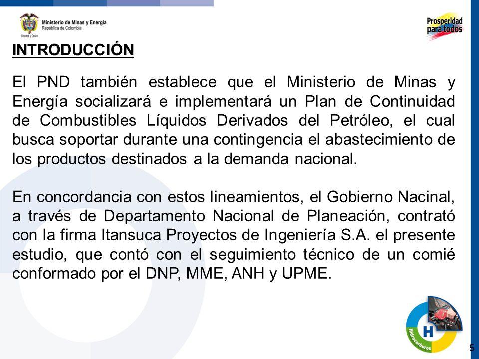 5 El PND también establece que el Ministerio de Minas y Energía socializará e implementará un Plan de Continuidad de Combustibles Líquidos Derivados del Petróleo, el cual busca soportar durante una contingencia el abastecimiento de los productos destinados a la demanda nacional.