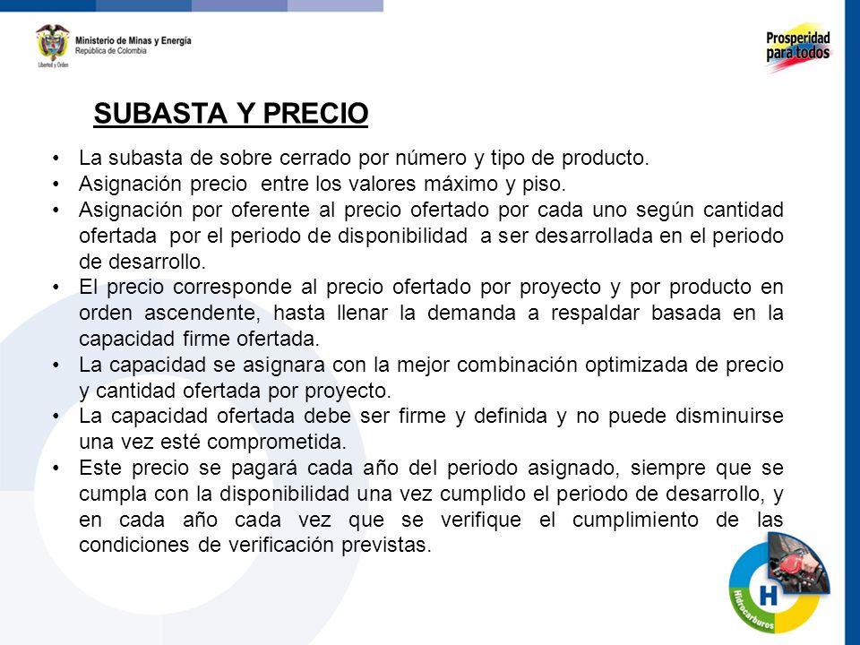 SUBASTA Y PRECIO 55 La subasta de sobre cerrado por número y tipo de producto. Asignación precio entre los valores máximo y piso. Asignación por ofere