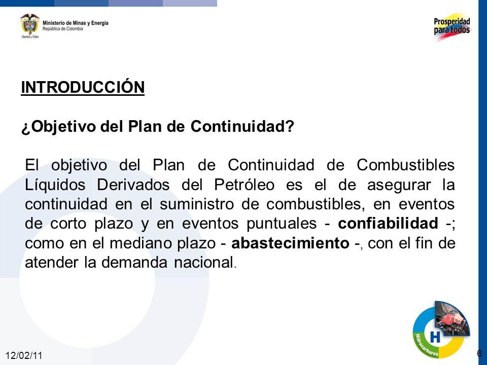 12/02/11 6 INTRODUCCIÓN ¿Objetivo del Plan de Continuidad? El objetivo del Plan de Continuidad de Combustibles Líquidos Derivados del Petróleo es el d