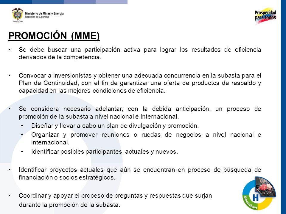 PROMOCIÓN (MME) 62 Se debe buscar una participación activa para lograr los resultados de eficiencia derivados de la competencia. Convocar a inversioni