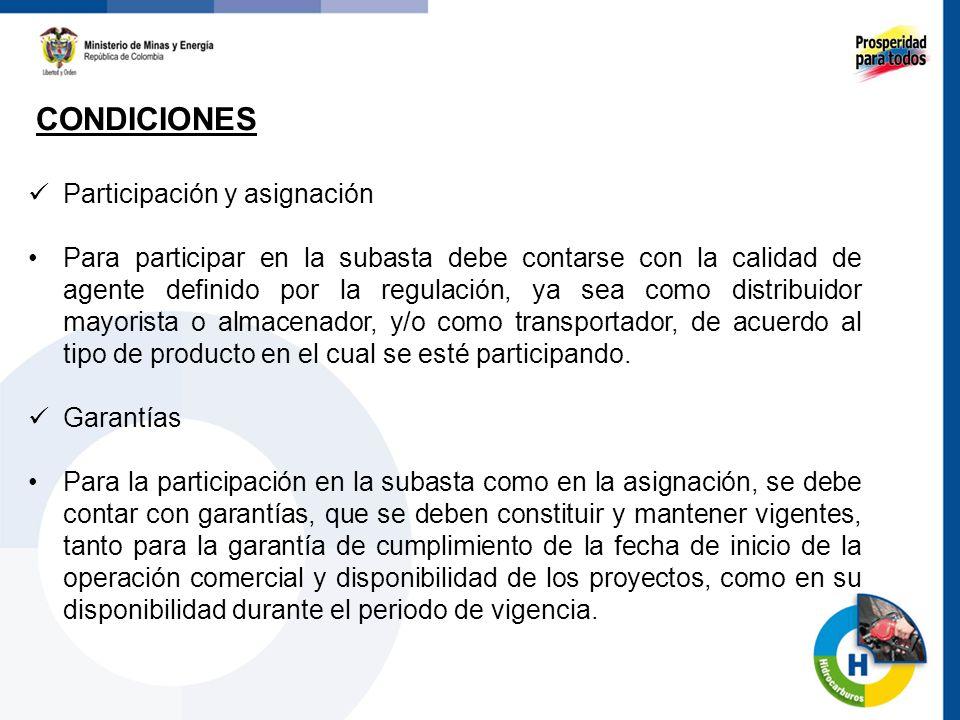 CONDICIONES 64 Participación y asignación Para participar en la subasta debe contarse con la calidad de agente definido por la regulación, ya sea como