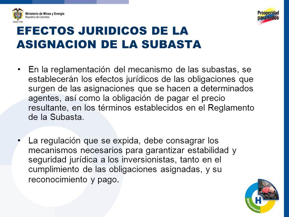 EFECTOS JURIDICOS DE LA ASIGNACION DE LA SUBASTA En la reglamentación del mecanismo de las subastas, se establecerán los efectos jurídicos de las obli