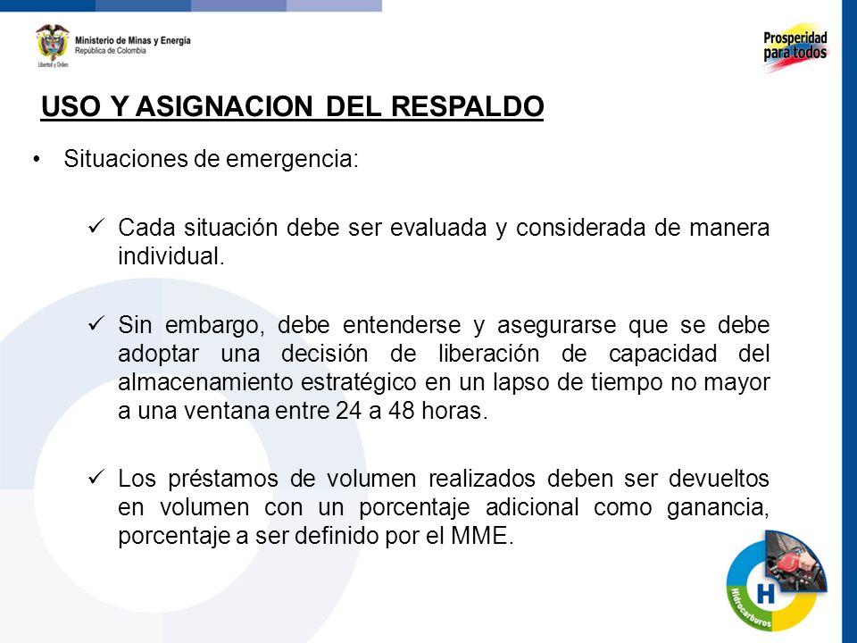 USO Y ASIGNACION DEL RESPALDO 67 Situaciones de emergencia: Cada situación debe ser evaluada y considerada de manera individual. Sin embargo, debe ent