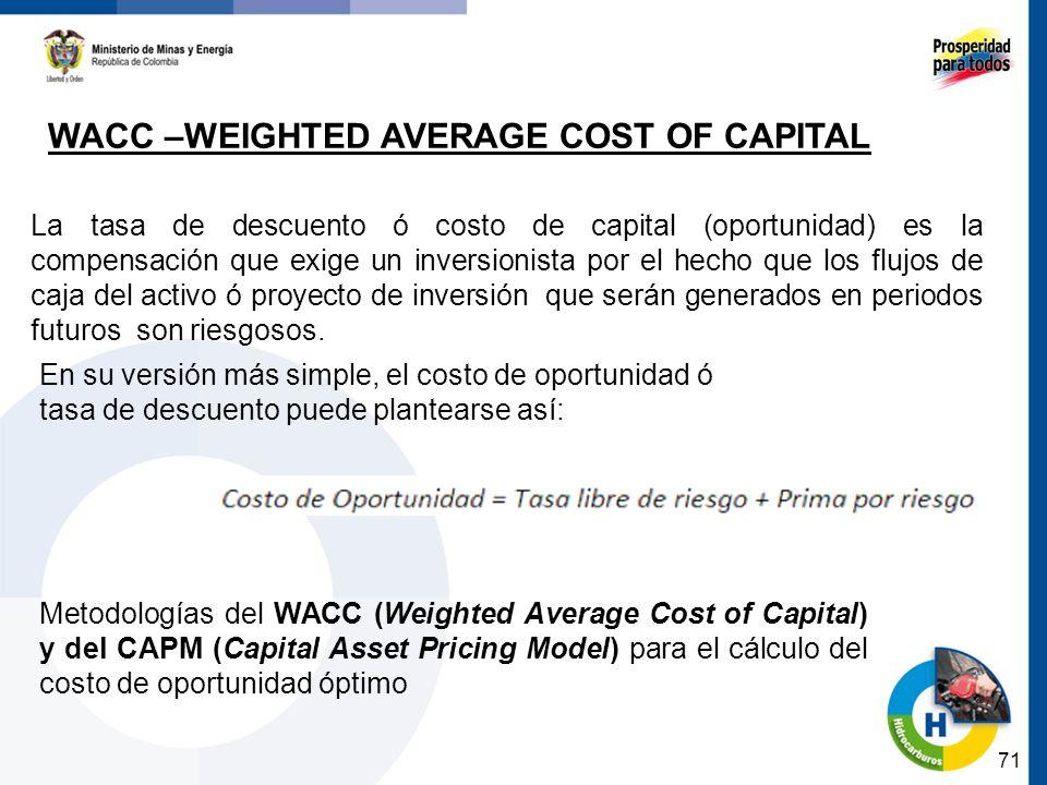 71 WACC –WEIGHTED AVERAGE COST OF CAPITAL La tasa de descuento ó costo de capital (oportunidad) es la compensación que exige un inversionista por el hecho que los flujos de caja del activo ó proyecto de inversión que serán generados en periodos futuros son riesgosos.
