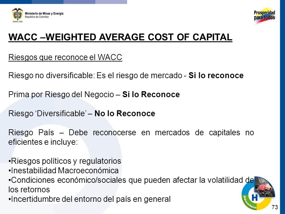 73 WACC –WEIGHTED AVERAGE COST OF CAPITAL Riesgos que reconoce el WACC Riesgo no diversificable: Es el riesgo de mercado - Si lo reconoce Prima por Ri