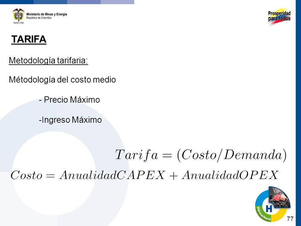 77 TARIFA Metodología tarifaria: Métodología del costo medio - Precio Máximo -Ingreso Máximo