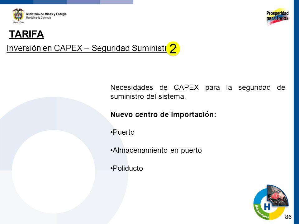 86 TARIFA Inversión en CAPEX – Seguridad Suministro Necesidades de CAPEX para la seguridad de suministro del sistema. Nuevo centro de importación: Pue