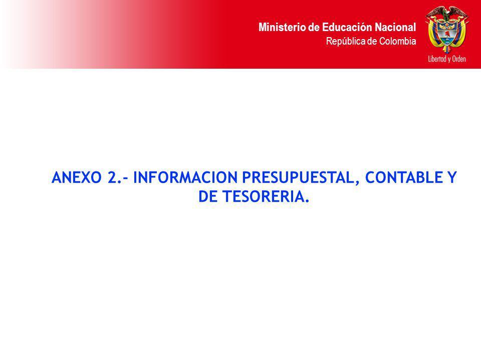 Ministerio de Educación Nacional República de Colombia ANEXO 2.- INFORMACION PRESUPUESTAL, CONTABLE Y DE TESORERIA.