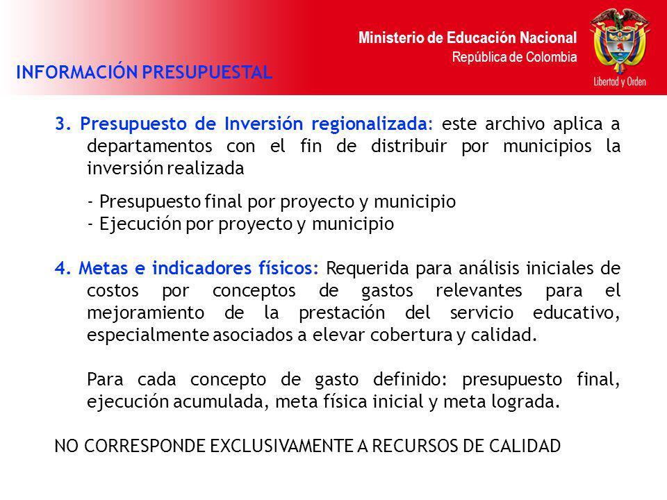 Ministerio de Educación Nacional República de Colombia 3. Presupuesto de Inversión regionalizada: este archivo aplica a departamentos con el fin de di