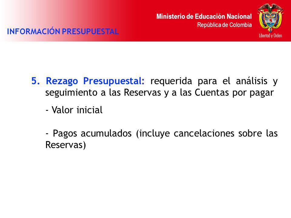 Ministerio de Educación Nacional República de Colombia 5. Rezago Presupuestal: requerida para el análisis y seguimiento a las Reservas y a las Cuentas