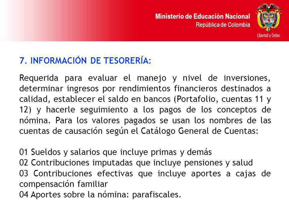 Ministerio de Educación Nacional República de Colombia 7. INFORMACIÓN DE TESORERÍA: Requerida para evaluar el manejo y nivel de inversiones, determina