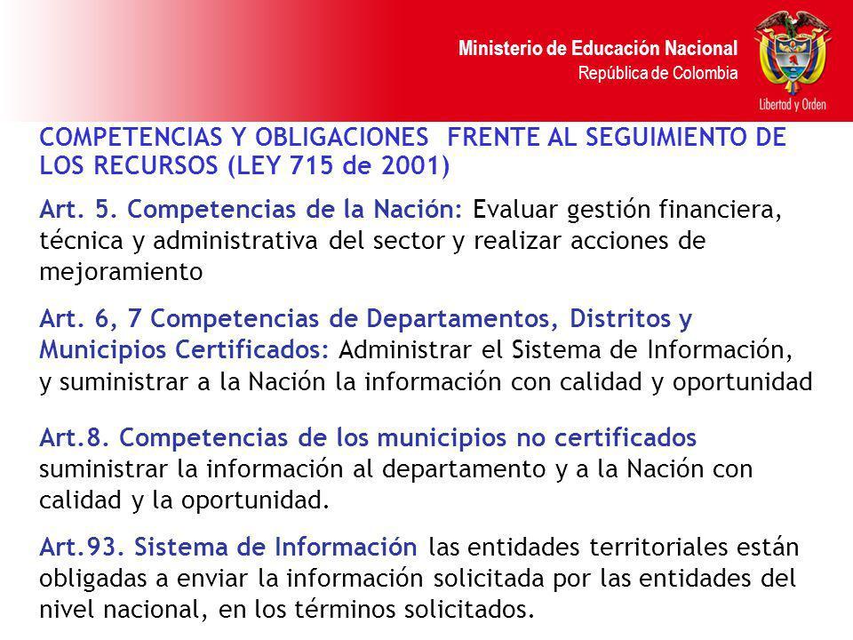 Ministerio de Educación Nacional República de Colombia COMPETENCIAS Y OBLIGACIONES FRENTE AL SEGUIMIENTO DE LOS RECURSOS (LEY 715 de 2001) Art. 5. Com