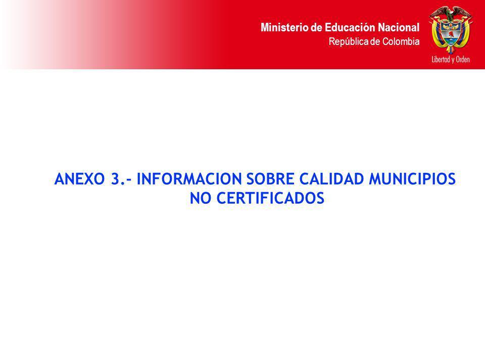 Ministerio de Educación Nacional República de Colombia ANEXO 3.- INFORMACION SOBRE CALIDAD MUNICIPIOS NO CERTIFICADOS