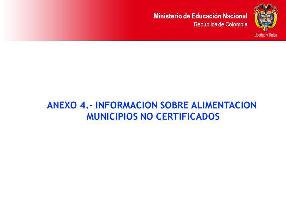 Ministerio de Educación Nacional República de Colombia ANEXO 4.- INFORMACION SOBRE ALIMENTACION MUNICIPIOS NO CERTIFICADOS