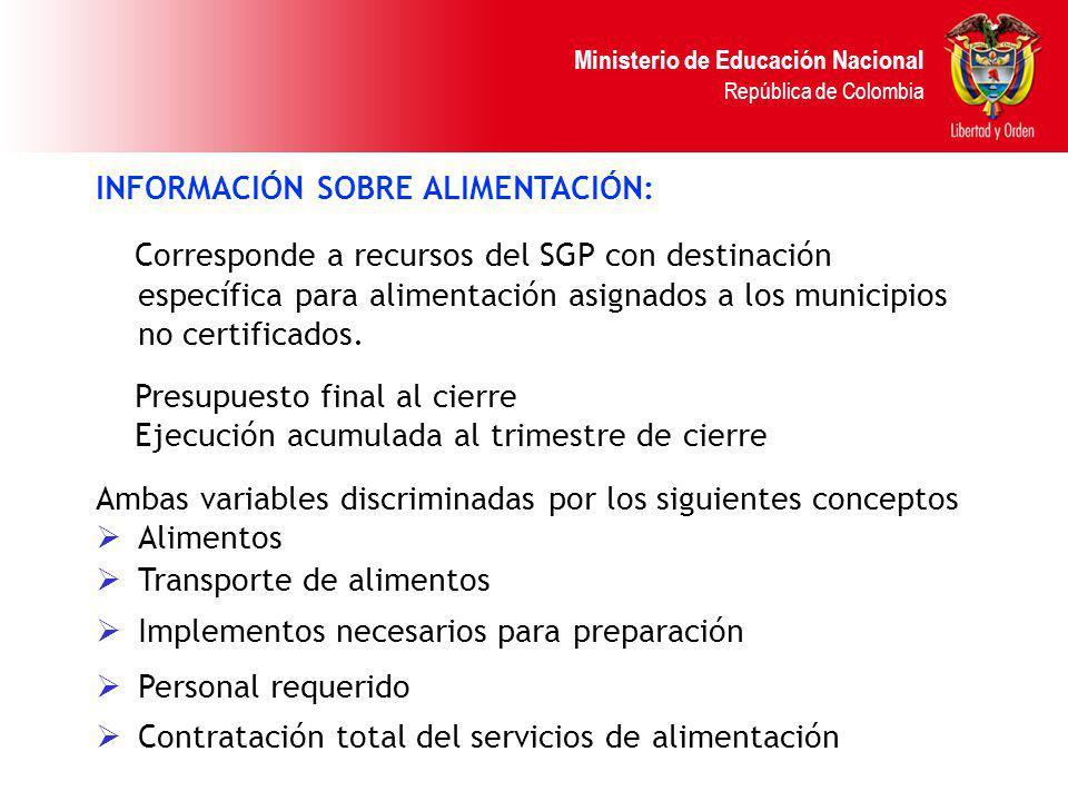 Ministerio de Educación Nacional República de Colombia INFORMACIÓN SOBRE ALIMENTACIÓN: Corresponde a recursos del SGP con destinación específica para