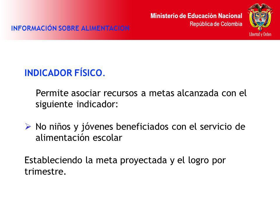 Ministerio de Educación Nacional República de Colombia INDICADOR FÍSICO. Permite asociar recursos a metas alcanzada con el siguiente indicador: No niñ