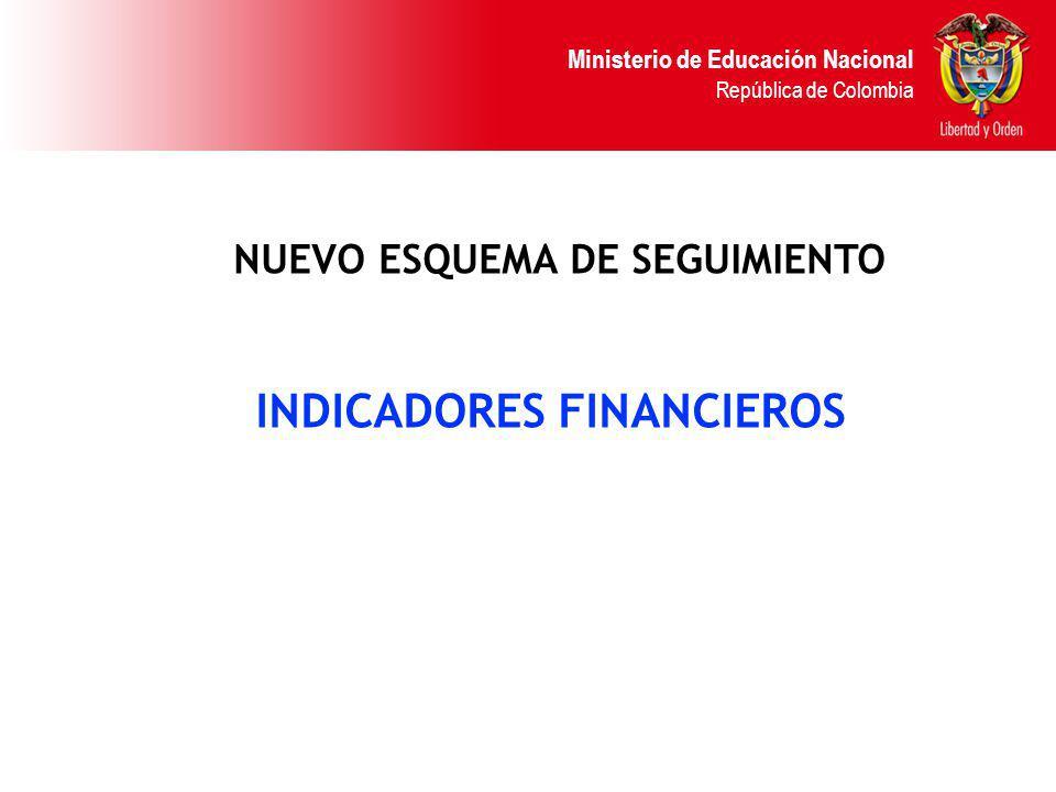 Ministerio de Educación Nacional República de Colombia NUEVO ESQUEMA DE SEGUIMIENTO INDICADORES FINANCIEROS