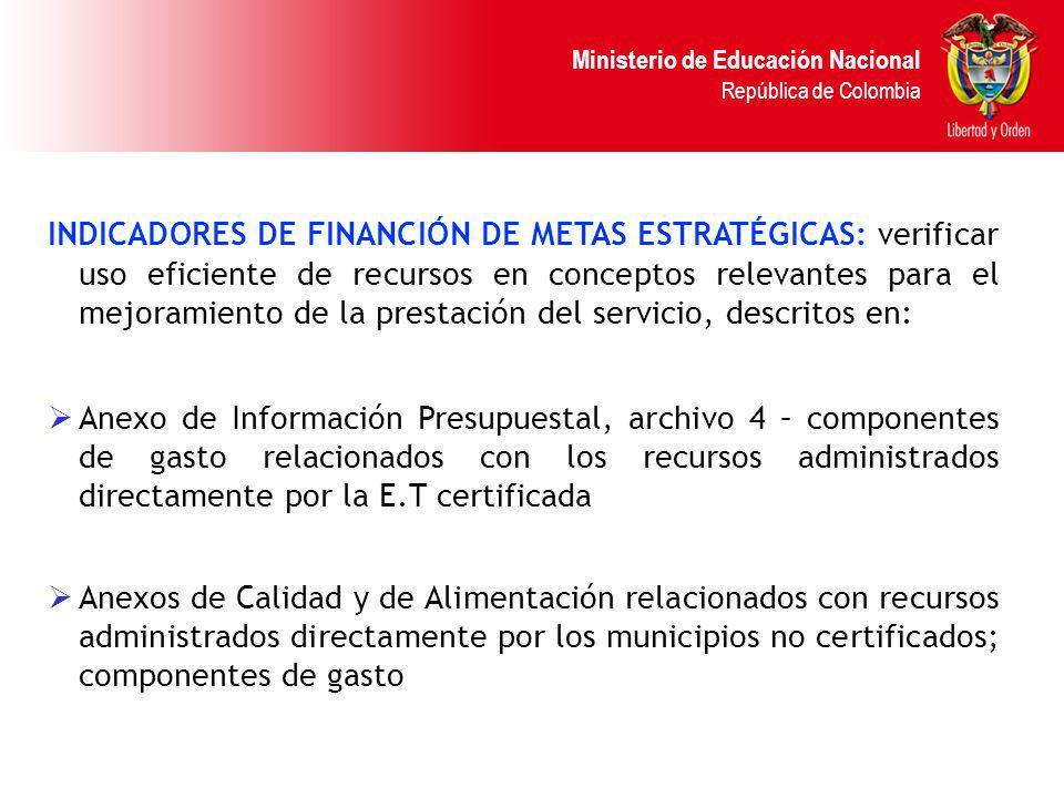 Ministerio de Educación Nacional República de Colombia INDICADORES DE FINANCIÓN DE METAS ESTRATÉGICAS: verificar uso eficiente de recursos en concepto