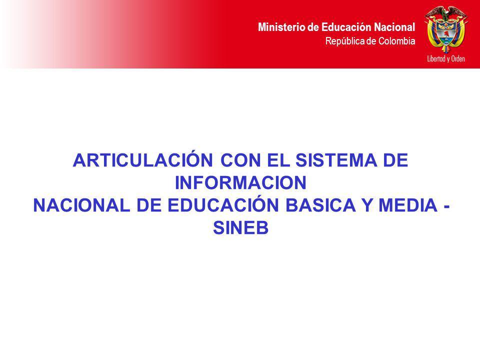 Ministerio de Educación Nacional República de Colombia ARTICULACIÓN CON EL SISTEMA DE INFORMACION NACIONAL DE EDUCACIÓN BASICA Y MEDIA - SINEB