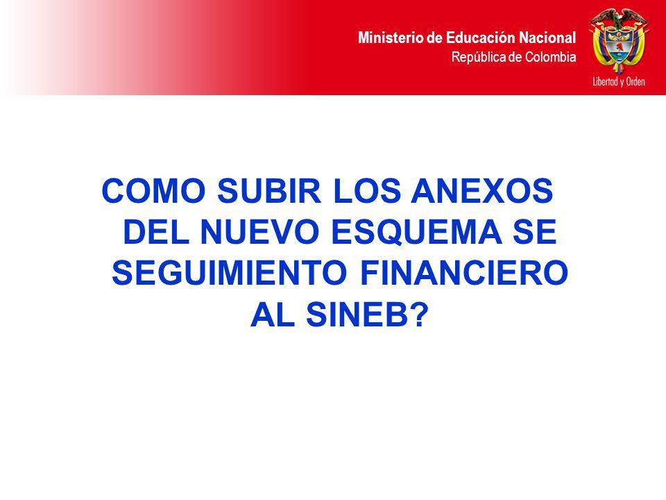 Ministerio de Educación Nacional República de Colombia COMO SUBIR LOS ANEXOS DEL NUEVO ESQUEMA SE SEGUIMIENTO FINANCIERO AL SINEB?