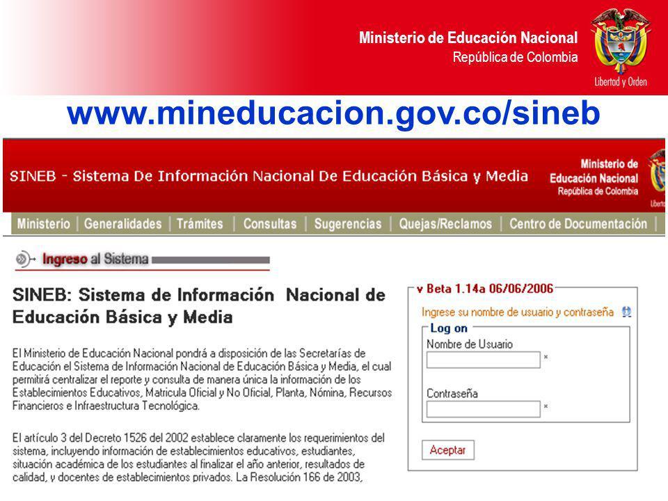 Ministerio de Educación Nacional República de Colombia www.mineducacion.gov.co/sineb