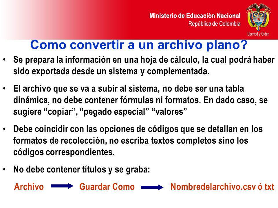 Como convertir a un archivo plano? Se prepara la información en una hoja de cálculo, la cual podrá haber sido exportada desde un sistema y complementa