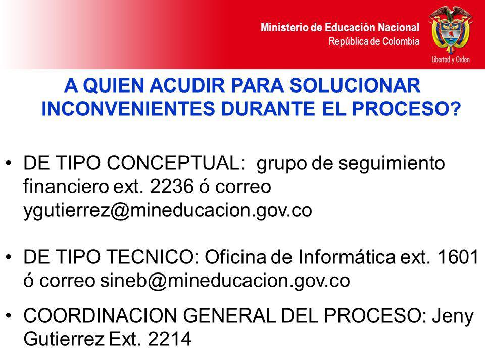 Ministerio de Educación Nacional República de Colombia A QUIEN ACUDIR PARA SOLUCIONAR INCONVENIENTES DURANTE EL PROCESO? DE TIPO CONCEPTUAL: grupo de