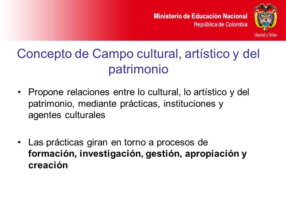 Ministerio de Educación Nacional República de Colombia Concepto de Campo cultural, artístico y del patrimonio Propone relaciones entre lo cultural, lo