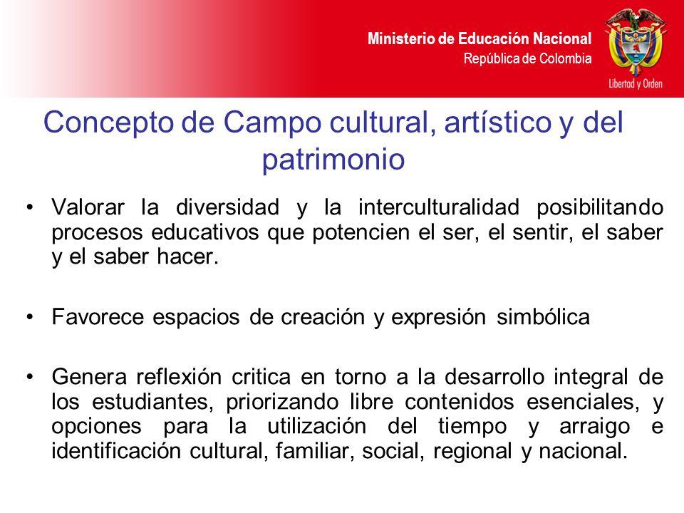 Ministerio de Educación Nacional República de Colombia Concepto de Campo cultural, artístico y del patrimonio Valorar la diversidad y la intercultural