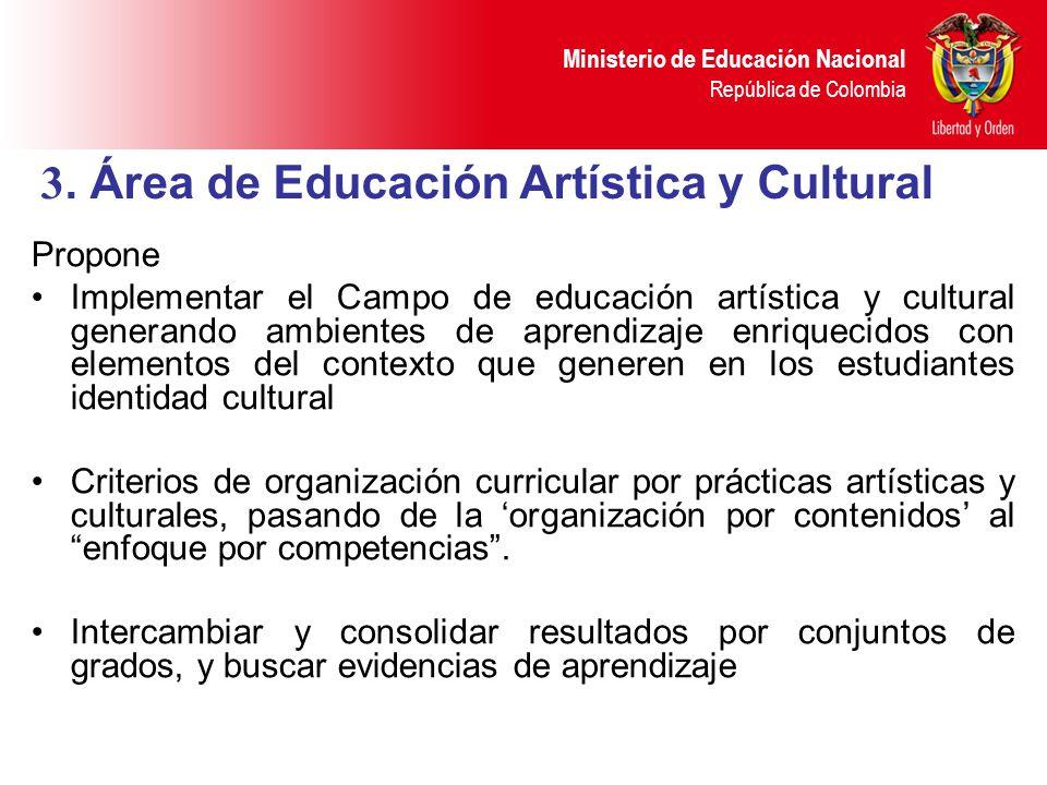 Ministerio de Educación Nacional República de Colombia Propone Implementar el Campo de educación artística y cultural generando ambientes de aprendiza