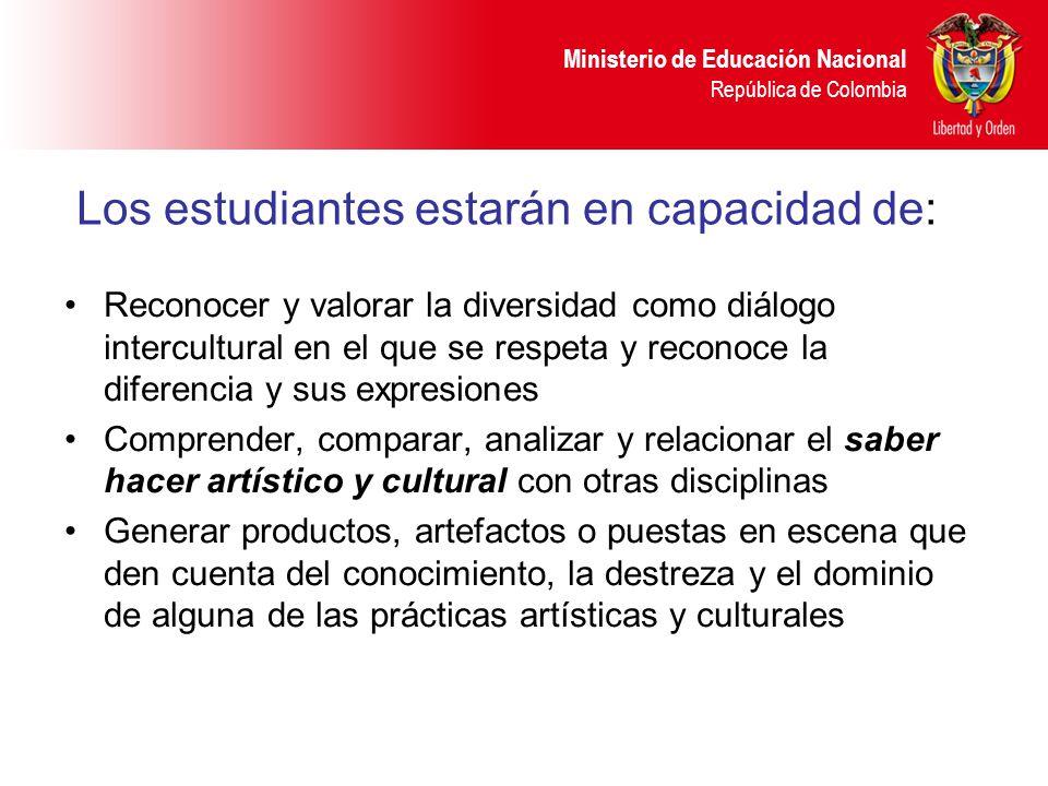 Ministerio de Educación Nacional República de Colombia Los estudiantes estarán en capacidad de: Reconocer y valorar la diversidad como diálogo intercu
