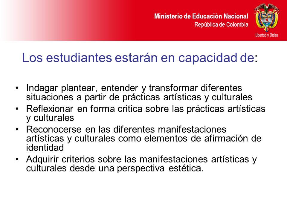 Ministerio de Educación Nacional República de Colombia Los estudiantes estarán en capacidad de: Indagar plantear, entender y transformar diferentes si