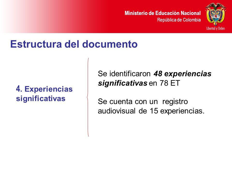 Ministerio de Educación Nacional República de Colombia 4. Experiencias significativas Se identificaron 48 experiencias significativas en 78 ET Se cuen