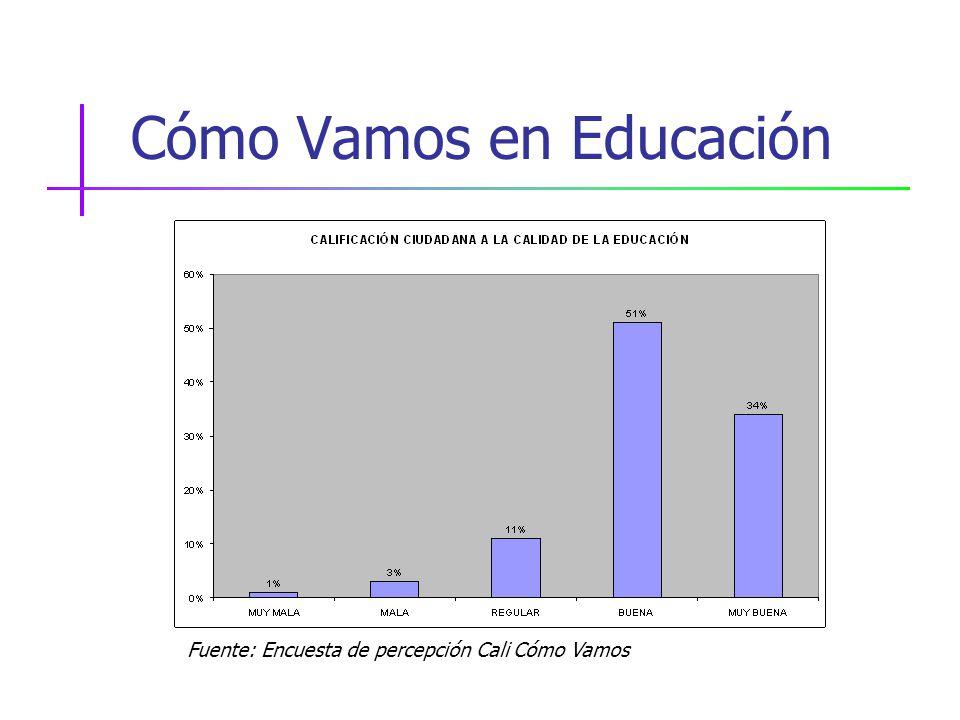 Cómo Vamos en Educación Fuente: Encuesta de percepción Cali Cómo Vamos